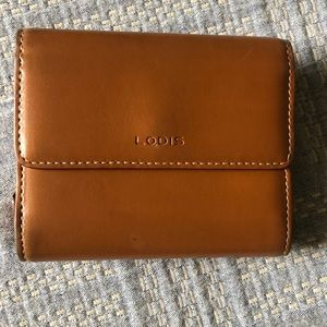 LODIS Leather wallet, Brown, red trim. EUC